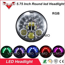 "5-3/4"" Accessories Harley Led Motorbike Chrome Headlamp Harley Davidsion Sportster 883 1200 RGB H4 LED Clignotant Moto Headlight"