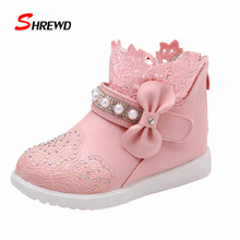 Shoes Kids Girls 2016 New Autumn Fashion Lace Princess Girls Boot Shoes Simple Children Shoes Insole 15.5-22.2cm 9314W