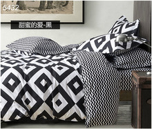 Brief black and white bedding set square printing bed clothes comforter cover brief cotton fabric wave lines 4pcs bed set 5432