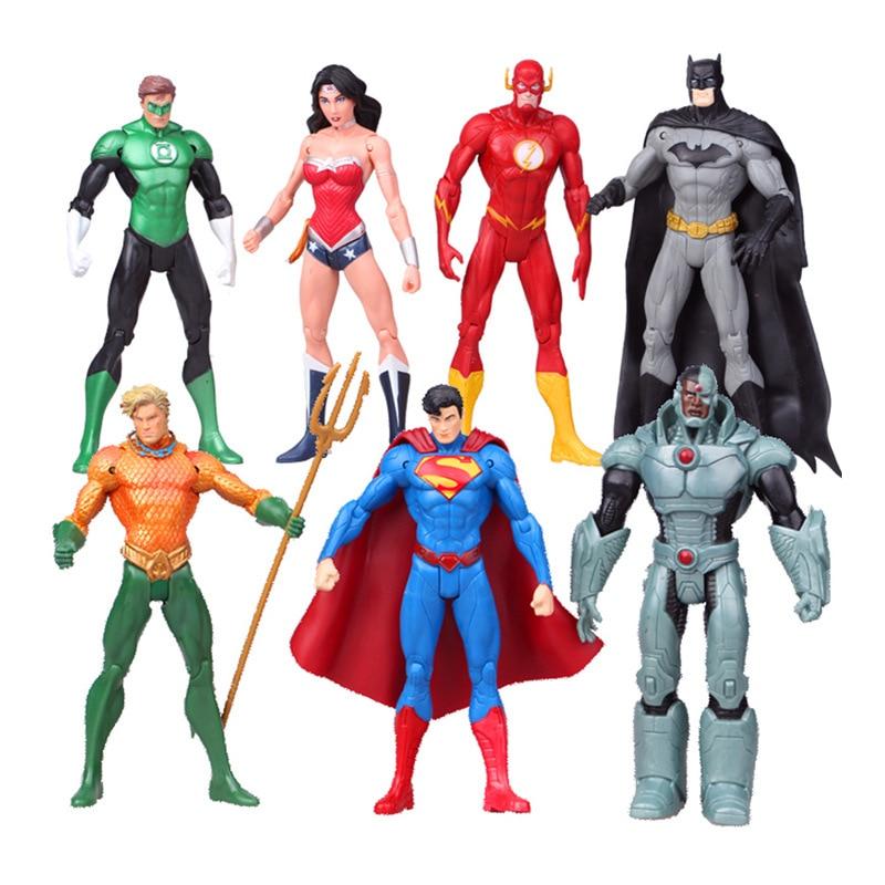 7pcs/set  superman Wonder flash batman Lantern Aquaman movable action figure toys<br><br>Aliexpress