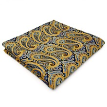 Paisley Blue Yellow Pink Handkerchiefs Hanky Pocket Square Silk Big Size Wedding(China)