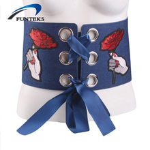 FUNTEKS Flower Embroidery Wide Belts for Women Elastic Black Girdle Women's Elegant Belt with Buttons Female Patchwork Straps