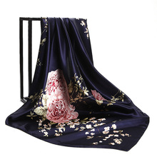 Navy Blue Chinese Roses Scarf Women's Fashion Flower Printed Square Scarves Head Hijab Customize Shawl Wraps 2017 NEW 90cm*90cm(China)