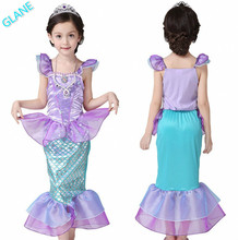 2016 Latest Girls Kids Bling Mermaid Princess Pageant Party Tail Maxi Dress Cosplay Costume