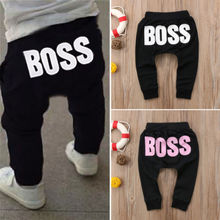 Baby Boys Girls Pants 2018 Hot Letter BOSS Pants Cotton Baby Girls Harem Pants For Baby Casual Trousers Boy Girl Clothes(China)