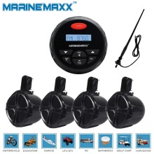 "4"" Waterproof Marine Gauge Radio FM AM Audio Bluetooth Stereo+ 6.5"" 2Pairs  Tower Speakers Totaling 500 Watts+Antenna"