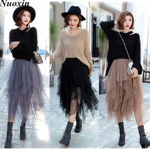 Nuoxin 3 Colors Women Tulle Tutu Skirt Ball Gown Long Pleated Skirts Women Mid-Calf Summer Party Asymmetric Midi Skirt Free Size