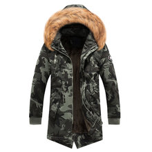 Fashion Winter Jacket Men Fur Collar Thick Warm Parka Men Hooded Outwear Camouflage Military Long Coat Velvet Trench Casual Tops(China)