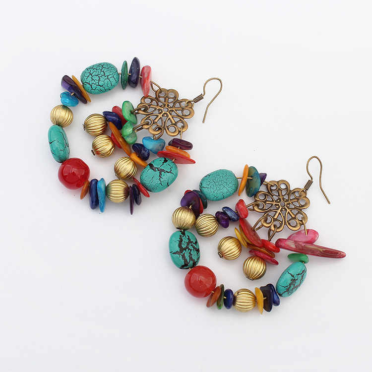 Detail Feedback Questions about Handmade Retro Vintage Women bronze gold  color Long Bohemian Pierced Dangle Earrings boho Gypsy Beads drop earrings  for ... 092758f00843