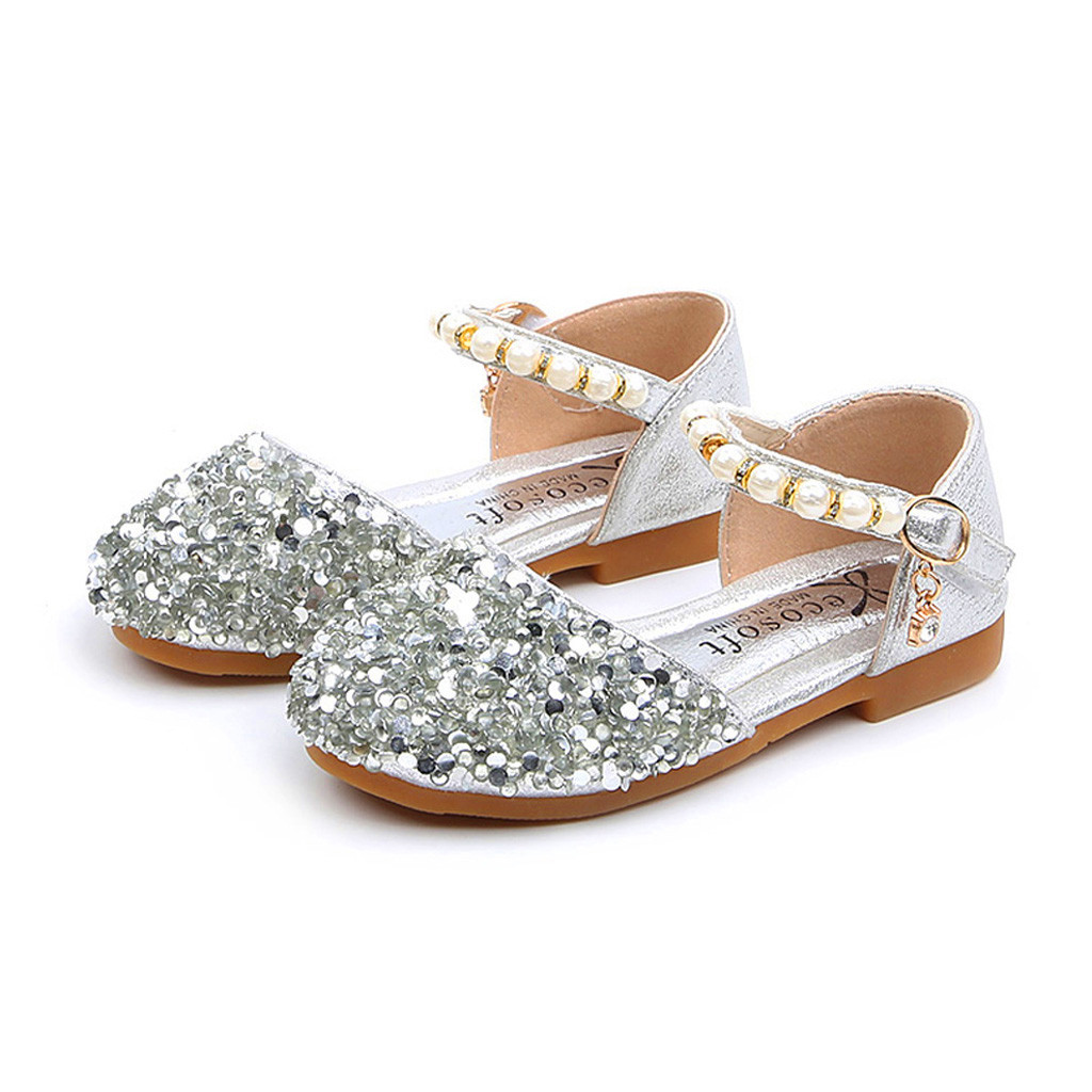Summer Children Infant Kid Baby Girls Bling Sequins Pearl Princess Shoes Sandals Randolly Toddler Shoes
