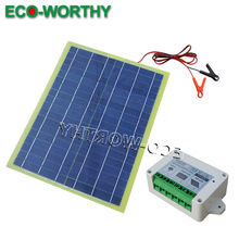 20W Epoxy Solar Panel &Cable & Battery Clip &Controller for Battery Charge Kit(China)