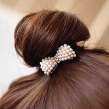 New Sweet Hair Accessories White Pearl Rhinestone Small Bow Knot Girls Woman Hairbands CJWD03(China)