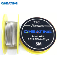 Qheating 5m/roll SS 316L Flat Alien Clapton Wire for RDA RBA Rebuildable Atomizer Heating Wires Coil Tool(China)