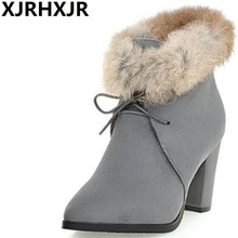New Winter Fashion Shoes Woman Warm Plush Fur Boots Ladies Suede Leather Ankle Boots Women Lace Up Thick High Heels Snow Boots