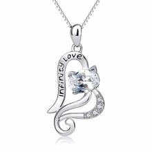 GNX13904 New Design 100% Real Pure 925 Sterling Silver Necklace Cute Cat Love Heart Crystal CZ Pendant Infinity Love Necklaces