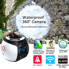 Hot Mini WiFi Panoramic Video Camera 4K 2448P 30fps 16MP Photo 3D Sports Camcorder Waterproof Cam DV VR Video Image ABS Recorder(China)