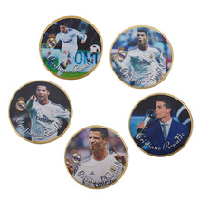 WR Commemorative Gold Plated Coin Famous Football Player Cristiano Ronaldo Challenge Coin Home Decor Golden Coin for Fans(China)