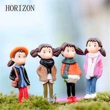 4pcs/set Kawaii Cartoon Modern Micro Landscape Style Raincoat Diy Valentine's Day Resin Crafts Artificial Figurine Miniatures(China)