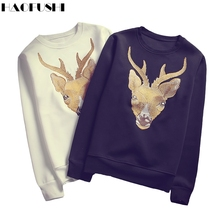 Autumn Hot Sale 3d t shirt embroidery Deer men brand tops tees O-neck long sleeve High Quality T-shirt Casual tee shirts
