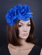 2017 NEW 4 colours Royal blue silk flowers fascinator sinamay base formal hat kentucky derby hat wedding hat.FREE SHIPPING.(China)