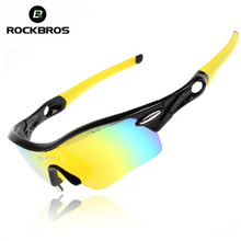 ROCKBROS Polarized Cycling Glasses Outdoor Sports Bicycle Glasses Men Sport Bike Sunglasses TR90 Goggles Eyewear 5 Lens, 3Color