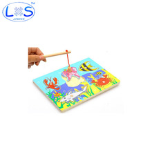 Baby Wooden Magnetic Fishing Game & Jigsaw Puzzle Board 3D Jigsaw Puzzle Children Education Toy juguetes educativos