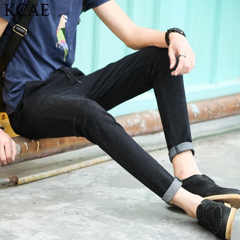 New men casual jeans Jeans fashion Brushed feet Slim Korean version of Slim jeans elastic waist black fashion mens clothingОдежда и ак�е��уары<br><br><br>Aliexpress