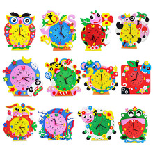 Kids DIY Kids Animal Shape Learning Clock Puzzles Arts Crafts Kits Baby Toys