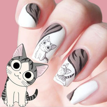 Hot 2Sheets Design Water Transfer Nail Stickers Cute Cat Design 3D Manicure Beauty Product For Nails Stamp Water Decals(China)