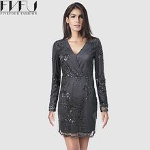 Buy Fashion 2017 Dress Women Spring Autumn Vintage Black Sequins Dress Sexy V-neck Long Sleeve Casual Women Dresses Plus Size for $32.59 in AliExpress store