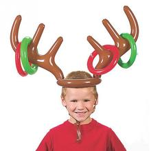 Children Kids Inflatable Santa Funny Reindeer Antler Hat Ring Toss Christmas Holiday Party Game Supplies Toy Christmas Toys