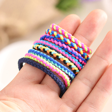 10pcs Colorful Hand Wave Colorful Braided Elastic Rubber Hairband Rope Ponytail Holder Hair accessories