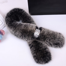 Fox Fur Scarf With Diamond Women's Favorite Multicolor 90 cm Length Genuine Korean Style 2016 Winter New Type Great EA4050-14