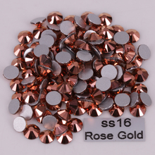 1440pcs/Lot, High Quality ss16 (3.8-4.0mm) Rose Gold Glue On Flat Back Crystals / Non Hotfix Rhinestones(China)