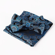 Mantieqingway Brand Paisley Bow Tie and Pocket Squares Set for Wedding Men Purple Navy Black Paisley Handkerchief Bowtie Sets