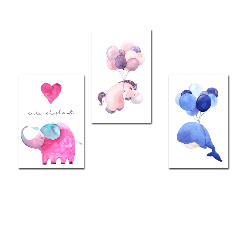 Nordic-Style-Watercolor-Whale-Elephant-Horse-Posters-and-Prints-Wall-Art-Canvas-Painting-Decorative-Picture-Kids