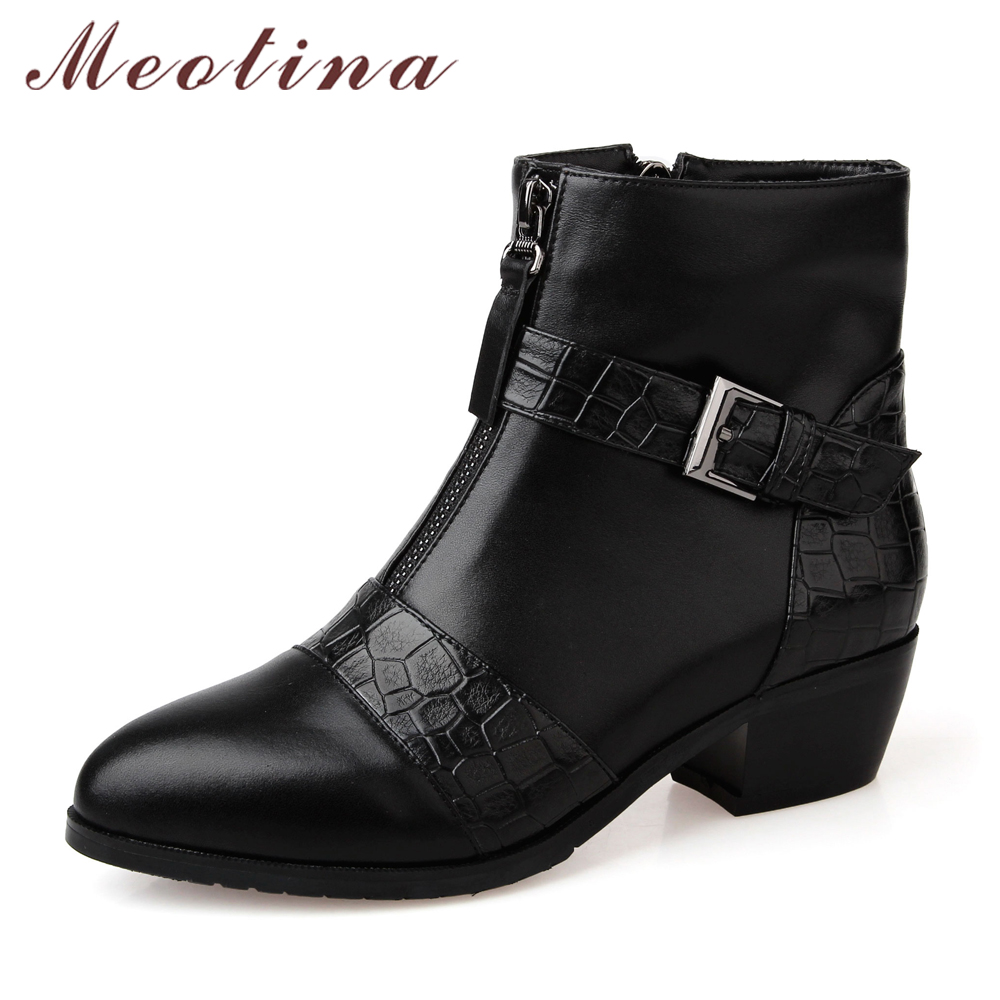 Meotina Genuine Leather Women Boots Thick Heels Short Boots 2017 Winter Leather Boots Ladies Shoes Buckle Zip Size 34-39 Black<br>