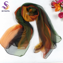 [BYSIFA] Green Yellow Gradient Ultrathin Women Long Silk Scarf,New Design 100% Autumn and Winter Silk Scarf Printed,180*105cm(China)
