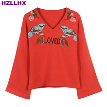 HZLLHX Red V-neck collar knitted women fall autumn top flare sleeve bird flower LOVED letters embroidery sweater woman pullovers