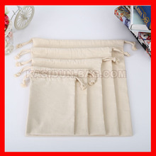 (100pcs/lot) wholesale eco friendly plain natural cotton drawstring bags(China)