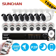 SunChan 16CH FULL HD 1080P AHD CCTV DVR System 16PCS SONY 2.0MP Outdoor IR Security Camera Home Surveillance System 3TB HDD(China)