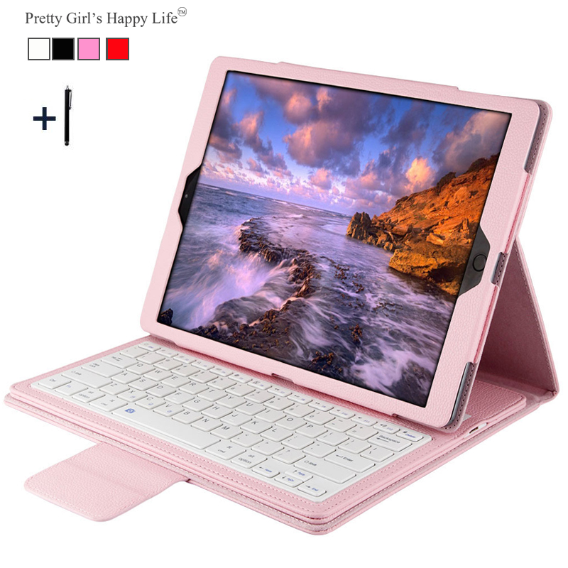 For iPad Pro 12.9 inch (2015) Wireless Bluetooth Keyboard Case For 2015 iPad Pro 12.9 Tablet Flip Leather Stand Cover+Stylus<br>