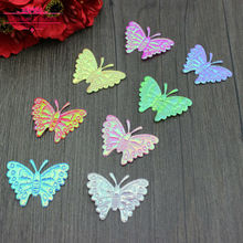 300pcs Mixed Colors Iridescent Fabric Butterfly Appliques 32x26mm One-Sided Glossy AB Fabric Patches Nursery Decor DIY Craft