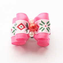 Armi store Christmas Handmade Accessories Dog Bow Red Bead Core Dogs Ribbon Bows 6025018 Pet Hair Supplies
