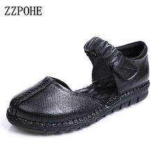 ZZPOHE New Spring Autumn Fashion Woman Genuine Leather Soft Casual Flat Shoes Mother Comfortable Black shoes Women Driving shoes