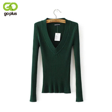 2017 New Spring Deep V Forest Green Pullovers Woman Stretch Knitted Sweater Women Elastic All Match Size Jumper Basic Tops C3554