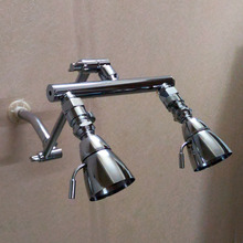 "Good Quality Dual Shower Heads Adjustable 9"" Shower Manifold Arm + a pair of Shut Off Valves"