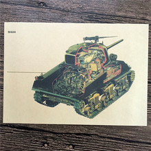 "Top fashion RZK-061 retro kraft paper ""M4A4 Tank Model"" wall stickers home decor living room poster sticker for kids 42x30 cm"