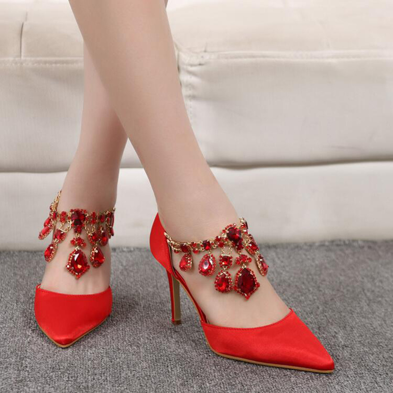2017 Spring Hot Sexy Pointed Women Pumps Thin High Heels Shoes Red Black Silver High-heeled Women Wedding Shoes Plus Size43 XP15<br><br>Aliexpress
