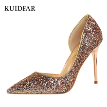 KUIDFAR Women Pumps Bling Sexy High Heels Glitter Wedding Party Women Heels Shoes Female Gold Silver Bridal Shoes Stiletto 9.5CM(China)
